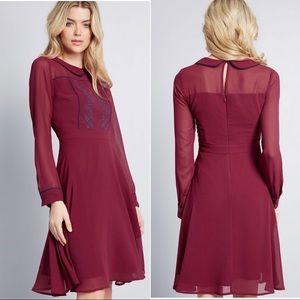 ModCloth Burgundy Peter Pan Collar Shirt Dress
